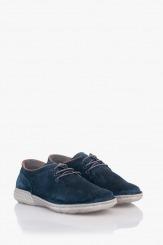 Сини велурени мъжки обувки с връзки Фабрицио