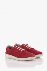 Велурени мъжки обувки в червено Франко