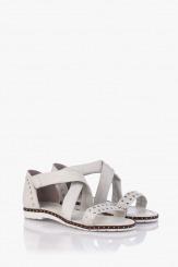 Бели кожени дамски сандали Флор