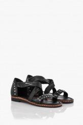 Черни кожени дамски сандали Флор