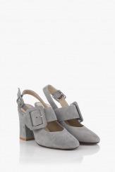 Велурени дамски сандали с аксесоар Кари