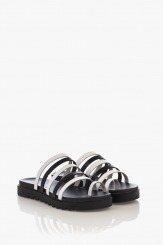 Дамски кожени сандали Джун в бяло и черно