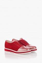 Червени дамски велурени обувки Ейми