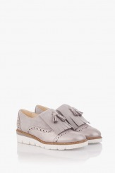 Сиви велурени дамски обувки с аксесоар Агнеса