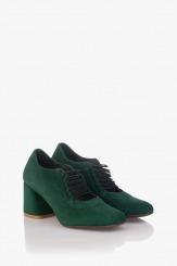 Зелени велурени дамски обувки с ластици Рената