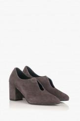 Сиви дамски велурени обувки на ток Йоланда