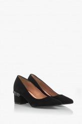Елегантни велурени дамски обувки Синтия в черно