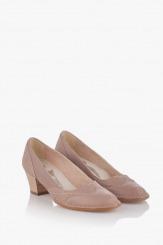 Кожени дамски обувки цвят таупе Флавия