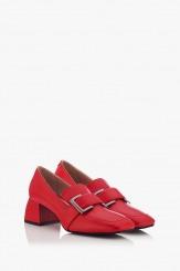 Кожени дамски обувки в червено Елла