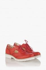 Дамски кожени обувки в червено Ема