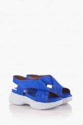 Кожени дамски сандали в синьо Джуси