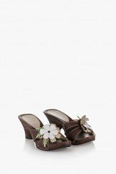 Дамски сандали Каръл в кафяв цвят