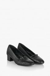 Дамски перфорирани обувки Лондон черна кожа