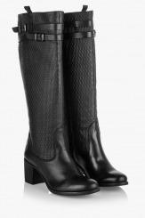 Дамски зимни ботуши Паола в черно с принт