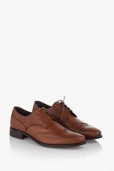Мъжки обувки с връзки кожа карамел Пиърс