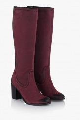 Дамски ботуши естествена кожа цвят бордо Делла