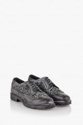 Дамски обувки в черно кожа с текстил Каси