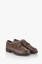 Кафяви дамски обувки кожа с текстил Каси