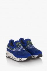 Сини дамски спортни обувки с камъни Белла