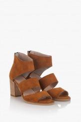 Дамски велурени сандали Белинда цвят карамел