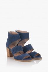 Сини велурени дамски сандали Белинда