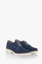 Велурени дамски обувки в синьо Абел