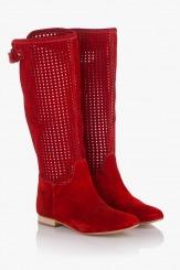 Червени дамски велурени ботуши Алесиа