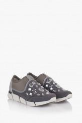 Сиви дамски спортни обувки с бели камъни Зари