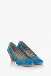Дамски сини перфорирани обувки Бри