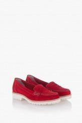 Червени дамски велурени обувки Лизи