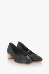 Черни дасмки перфорирани обувки Алма