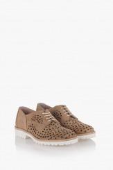 Дамски велурени обувки цвят таупе Абел