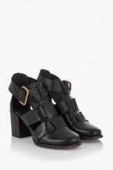 Дамски сандали от естествена кожа в черно Белинда