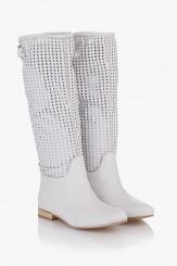 Летни дамски ботуш в бяло Алекс