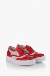 Дамски летни перфорирани обувки в червено Нати