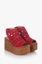 Дамски сандали червен велур Фелисити