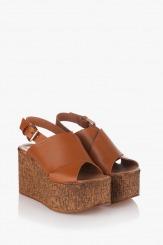 Дамски сандали кожа карамел Фрея