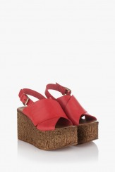 Дамски сандали с цяла платформа Фрея в червено