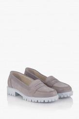 Дамски велурени обувки в сиво Лизи