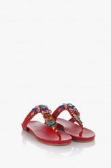 Червени дамски чехли с аксесоари Филомена
