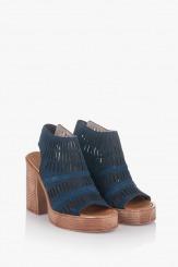 Велурени дамски сандали в син цвят Дона