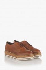 Кожени дамски обувки Бианко карамел