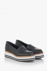 Дамски обувки от естествена кожа Бамби в черно