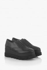 Черни дамски обувки от естествена кожа Бианко