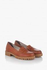 Дамски обувки от естествена кожа в карамел
