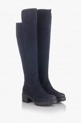 Дамски велурени чизми в синьо София