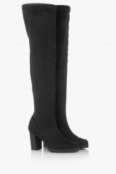 Черни дамски чизми стреч-велур Никол