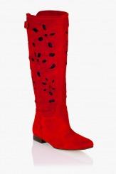 Червени летни ботуши Клоуи велур