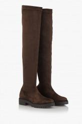 Дамски велурени чизми Никол кафяво