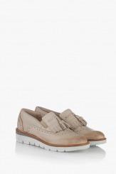 Сиви дамски обувки от естествена кожа Бамби